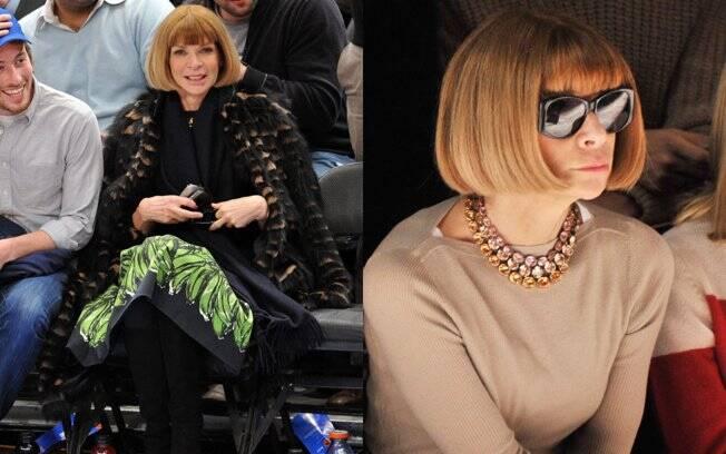 Anna Wintour: no jogo de basquete... e no dia seguinte, na semana de moda de Nova York