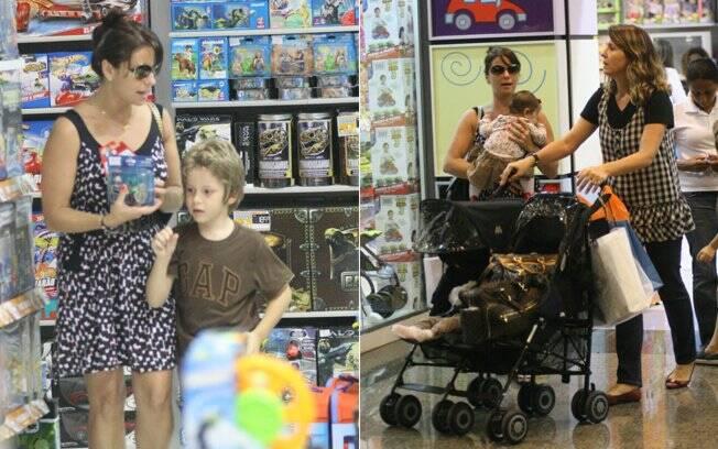 Giovanna Antonelli passeia com a família em um shopping, na Barra da Tijuca