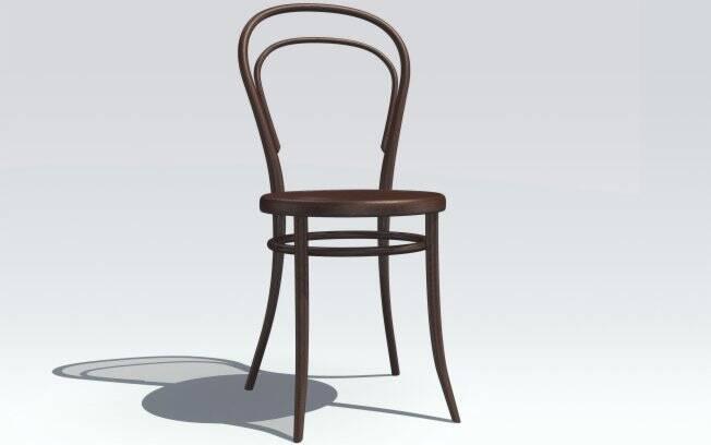 Primeira cadeira a utilizar técnicas a vapor e madeira curva, a Thonet nº 14, de 1859, foi fabricada para em série