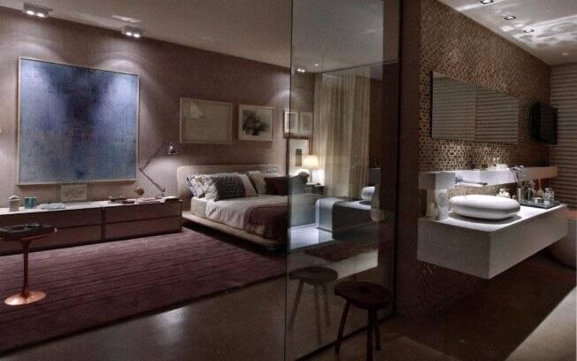 O banheiro, antes deslocado da residência, hoje é uma extensão do quarto. Assim como no projeto da arquiteta Angélica Araújo, de Belo Horizonte