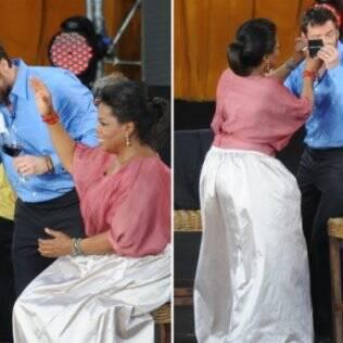 Hugh Jackman caiu sobre os equipamentos de iluminação e logo  foi acudido pelos paramédicos e pela própria Oprah.