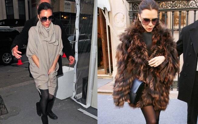 Victoria Beckham no sábado (12) e domingo (13) escondendo a barriga com looks mais soltos
