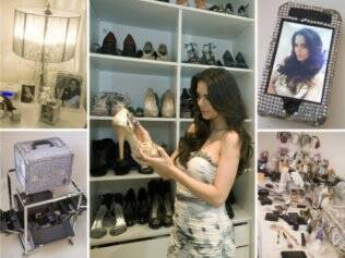 Tudo brilha na vida de Daniela: nas imagens acima, detalhes do camarim da apresentadora, que tem cerca de 25m2