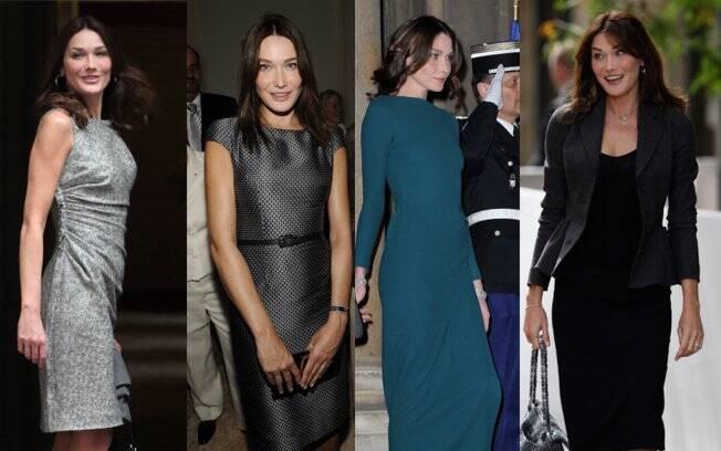 Carla Bruni em eventos anteriores à notícia da possível gravidez: looks ajustados à silhueta e cintura marcada
