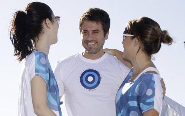 Nathalia Dill, Eriberto Leão e Fernanda Souza na corrida e caminhada contra o câncer de mama, no Rio