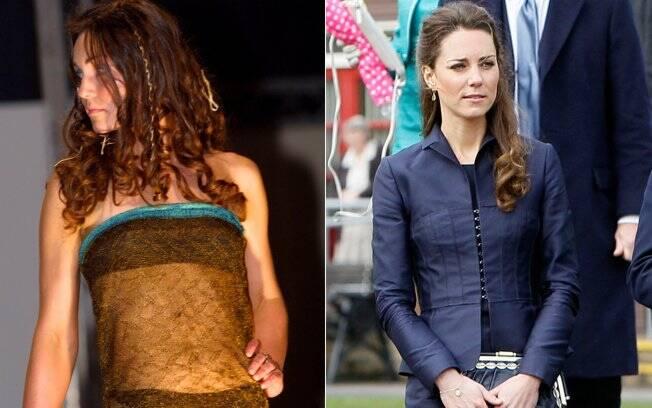 Kate exibe as curvas em vestido transparente, na época de faculdade, e opta por um tailleur azul escuro na última segunda-feira (11): novo estilo é discreto e conservador