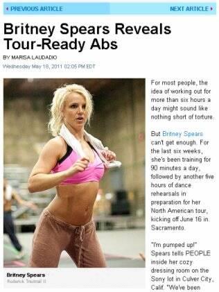 Nova silhueta de Britney Spears é resultado de seis horas de ensaio por dia