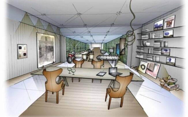 Perspectiva do ambiente da arquiteta Fernanda Marques na primeira edição da Hyundai Mostra Black