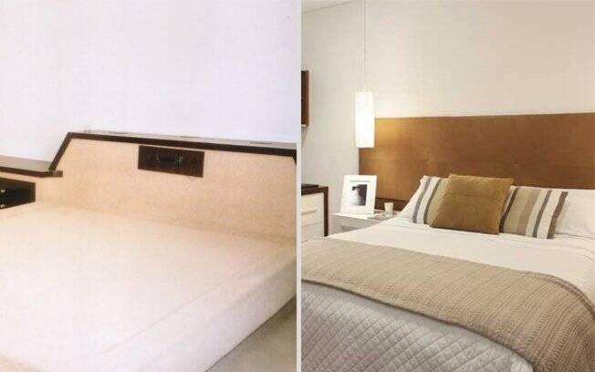 O quarto principal também foi repaginado, substituindo a cama baixa emoldurada com uma bancada