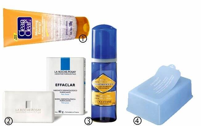 1) Clean & Clear Gel de Limpeza R$18,95 2) Sabonete em barra, da La Roche-Posay R$21 3) Espuma de Limpeza Facial Immortelle, da L'Occitane R$79 4) Lenços Refreshing Cle