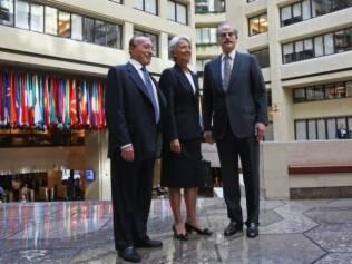 Christine Lagarde em seu primeiro dia de trabalho na sede do Fundo Monetário Internacional, em Washington
