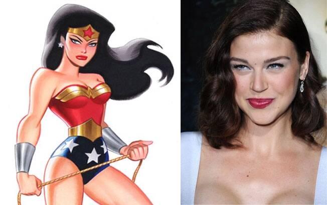 Adrianne Palicki e a Mulher Maravilha atual da DC Comics, editora dona dos direitos da personagem