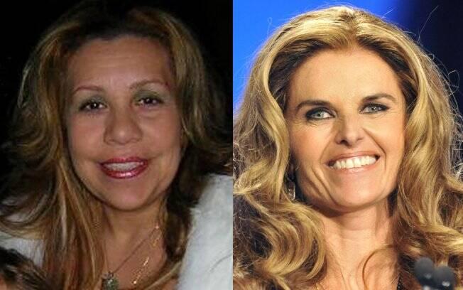 Mildred Baena (à esq.), caso de Schwarzenegger, e sua ex-mulher, Maria Shriver (dir.)