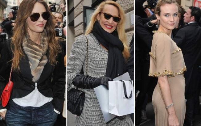 Vanessa Paradis, Jerry Hall e Diane Kruger chegam para o desfile da Chanel