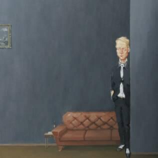 Homem sozinho na pintura do artista Rodrigo Cunha