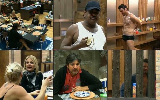 Monique Evans, João Kleber, Duda Yankovich, Marlon e Compadre Washington se divertem durante o café da manhã