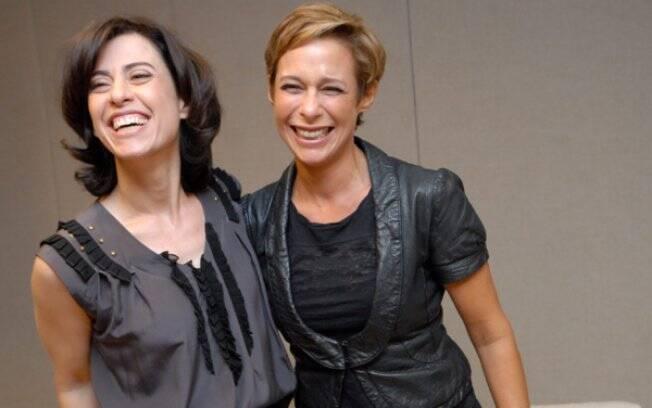 Hoje veteranas atrizes e comediantes, Andrea e Fernanda posam durante a coletiva de apresentação do seriado