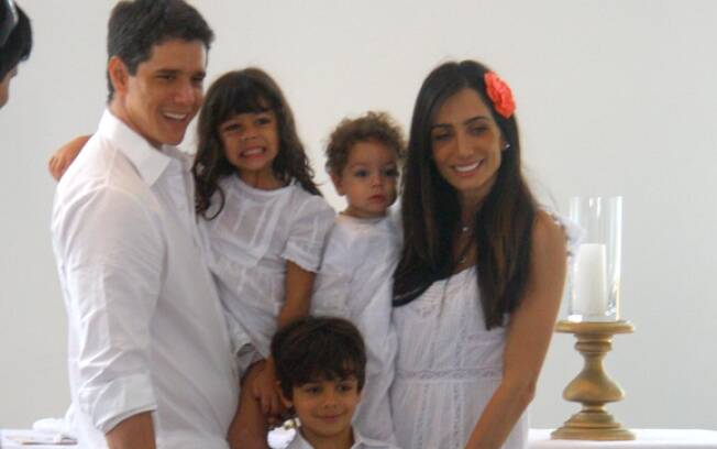 Márcio Garcia e Andréa com os três filhos: dieta saudável para toda a família