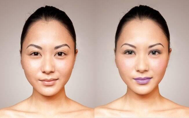 A foto original (esquerda) e o look trabalhado no Makeover