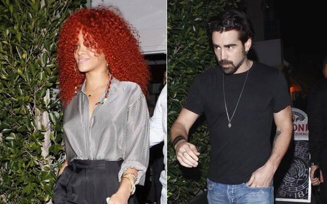 Rihanna e Collin Farell foram flagrados saindo do mesmo restaurante nessa terça-feira (16)