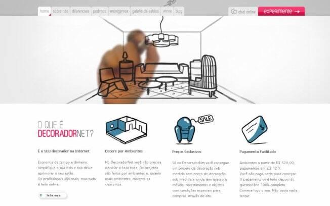 O site DecoradorNet se propõe a fazer projetos de decoração a partir de fotos e informações enviadas pelos clientes