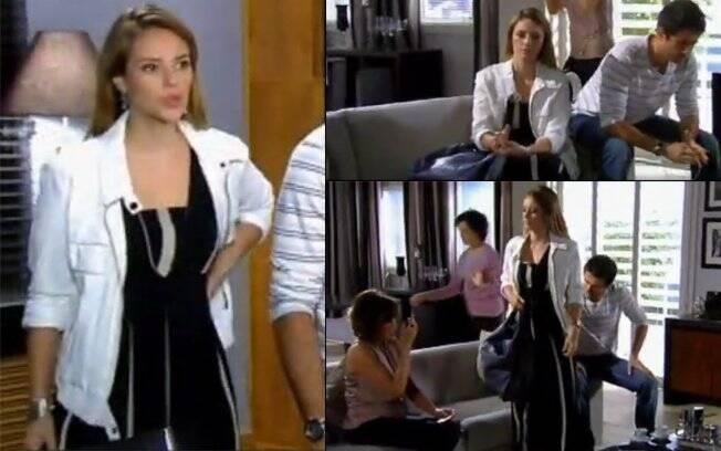 O vestido preto com detalhes brancos da Marina Drumond (Paola Oliveira) é da marca Barbara Bela.
