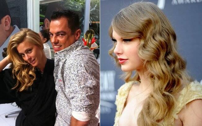Cabelão poderoso: Carolina Dieckmann, com Biaggi, e Taylor Swift