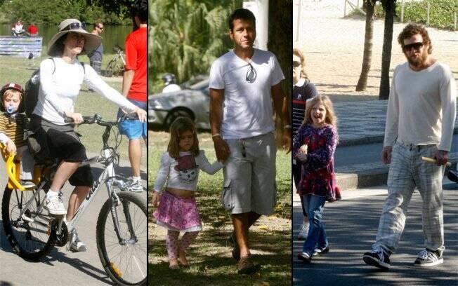 Fernanda Torres, Marcos Palmeiras e Otto passeiam pelo Rio com seus filhos