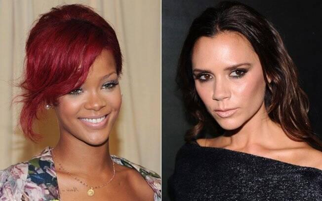 O cabelo curto de Rihanna demonstra personalidade (esq.); Victoria Beckham com a testa a mostra passa a imagem de respeito (dir.)