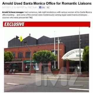Escritório de Schwarzenegger em Santa Mônica, onde ele recebia as amantes