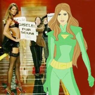 Gisele é vítima de protestos; modelo como a heroína verde que protege os recursos naturais do planeta
