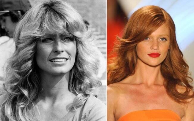 Ícone de beleza na década de 70, Farrah Fawcett exibe cachos soltos e volumosos; Na passarela do SPFW, modelo exibe look no mesmo estilo