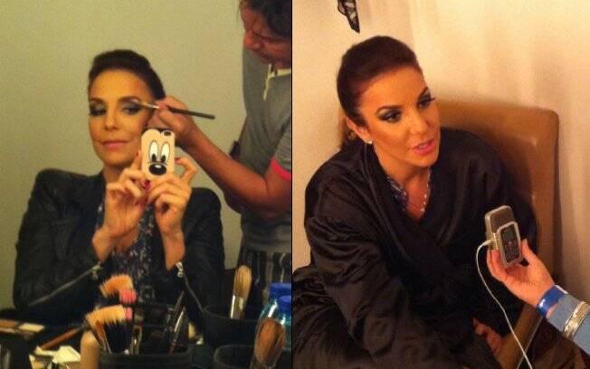 Ivete finaliza a maquiagem e cede entrevista à imprensa local