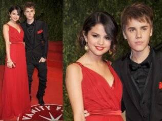 Justin Bieber já com o corte de cabelo novo, com a namorada Selena Gomez