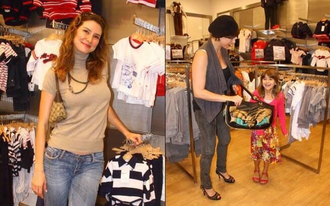 Lavínia Vlasak posa para fotógrafos e Maria Paula com a filha Maria Luiza