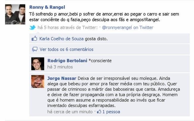 Declaração de Rangel um dia após o acidente
