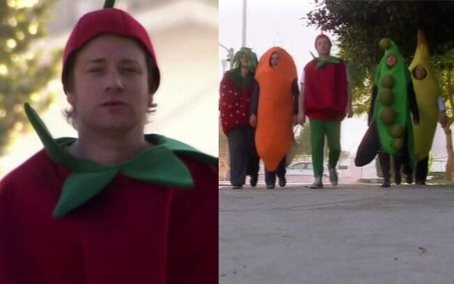 Jamie Oliver vestido de tomate