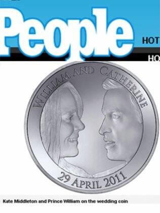 Kate Middleton e Príncipe William na moeda comemorativa do casamento