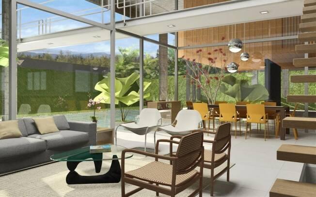 Salas de estar e jantar são totalmente integradas no projeto da FGMF