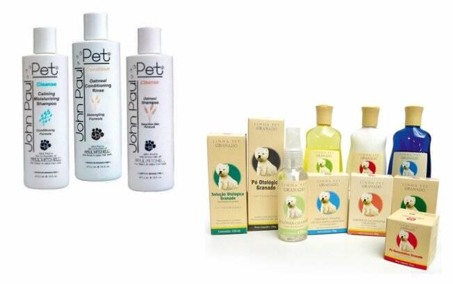 Os produtos John Paul Pet (esquerda) levam ingredientes como aveia e óleos essenciais. A linha para pets da marca Granado (direita) custa entre R$ 10,50 e R$ 14,50