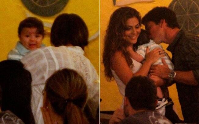 Único herdeiro de Juliana e Carlos, o bebê foi o centro das atenções da festa
