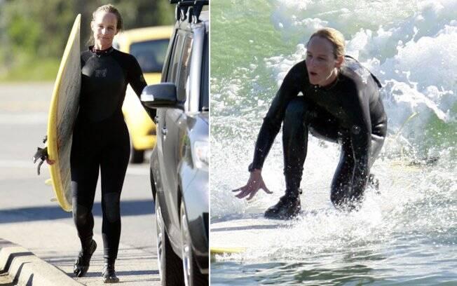 Helen Hunt: roupa especial para surfe