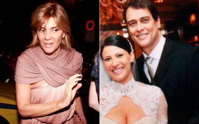 Mônica Torres, ex de Marcello Antony, e os noivos, em foto que tiraram ao lado de um dos convidados