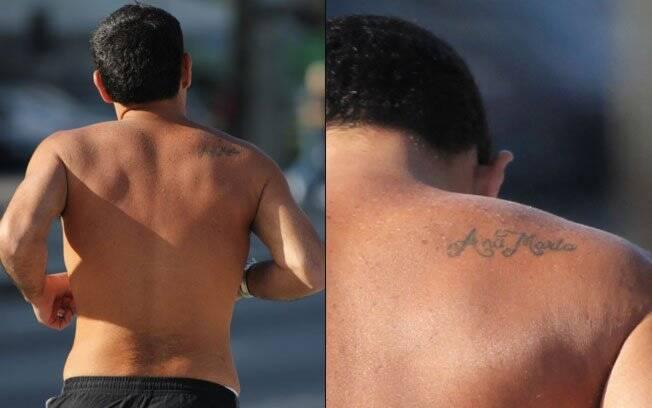 O empresário Marcelo Frisoni e a tattoo em homenagem à mulher nas costas