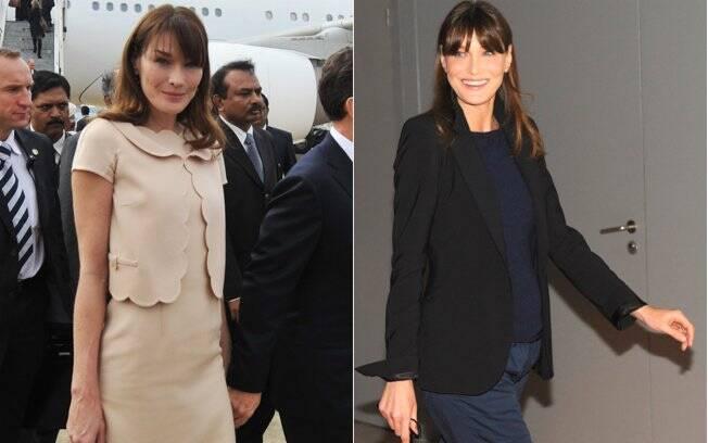 A barriguinha de Carla Bruni em fotos de dezembro de 2010 e maio de 2011