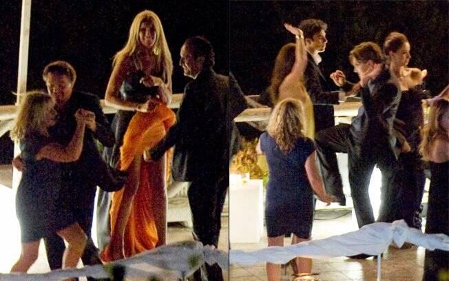 Leonardo DiCaprio pareceu animado durante o casamento do produtor Ryan Kavanaugh. O ator dançou com cinco mulheres diferentes