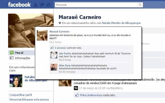 Frase polêmica de Marauê publicada em seu Facebook
