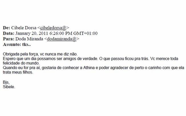 Email de agradecimento enviado em 20 de janeiro de 2011
