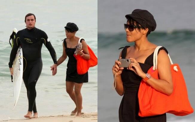Felipe Dylon e Aparecida Petrowky: namorada acompanhou tudo da areia