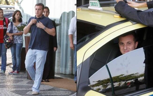 Luciano Huck deixando o Hotel Fasano